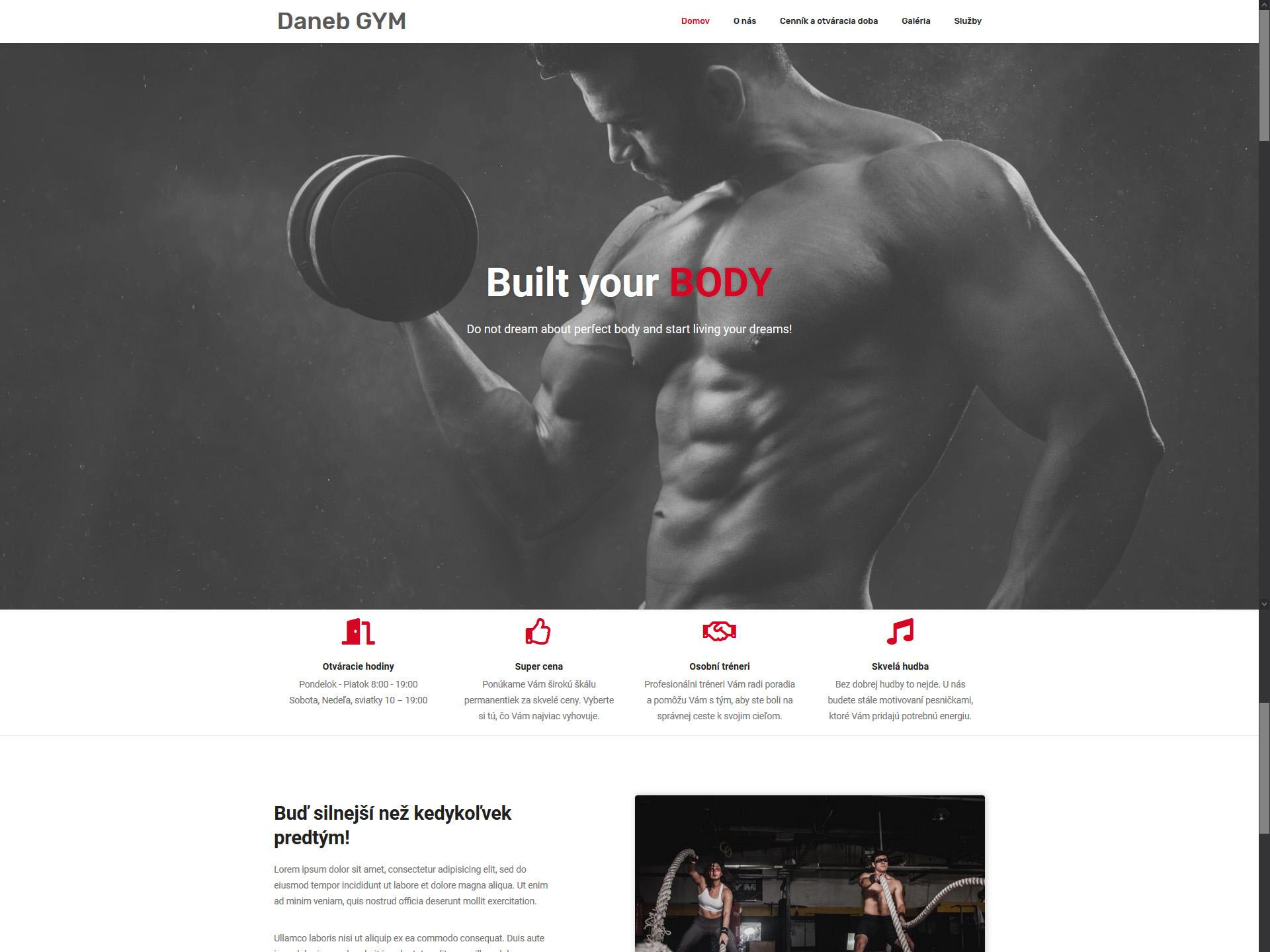 Webová stránka fitness centra