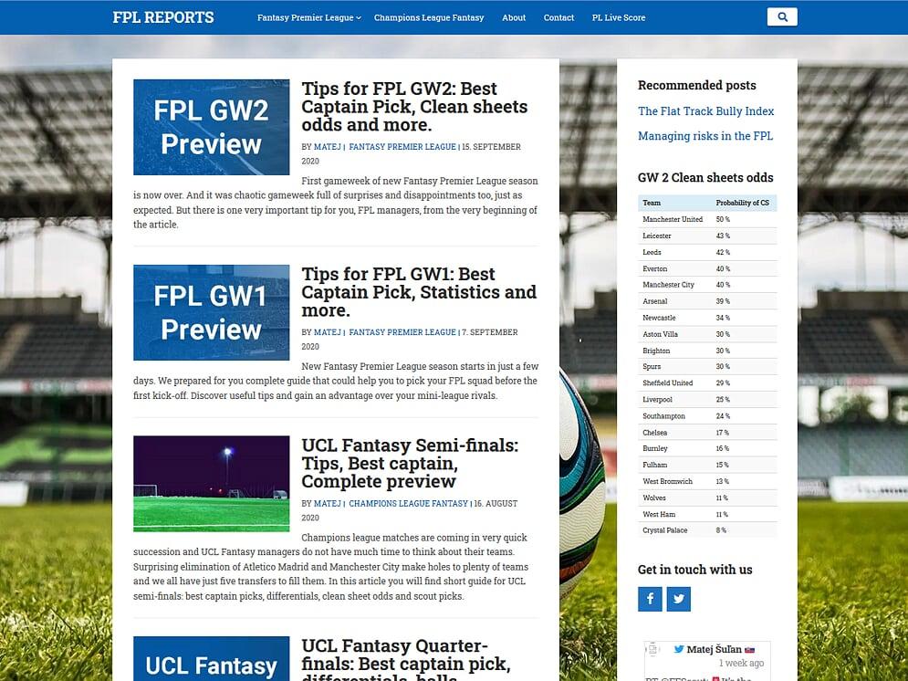 Webová stránka športového portálu