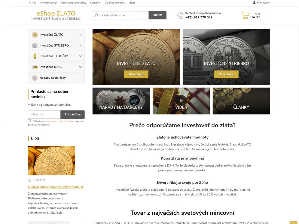 Webová stránka eshopu