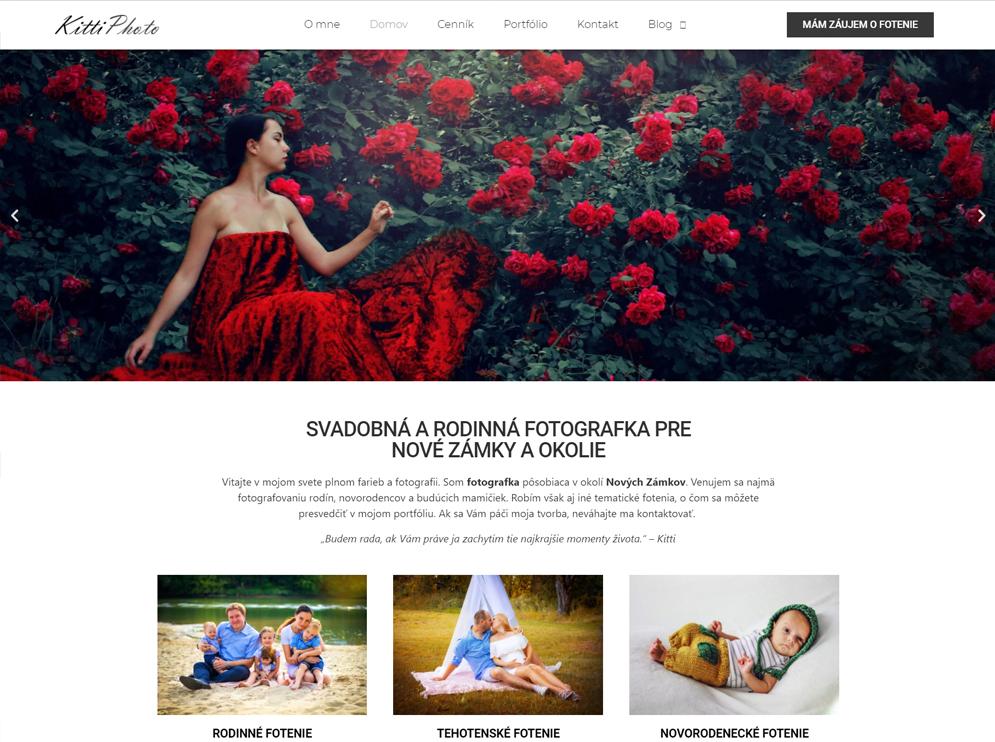 Webová stránka fotografky