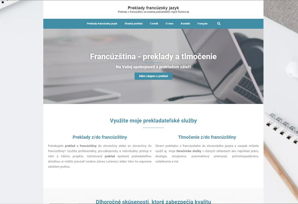 Firemná webová stránka prekladateľky