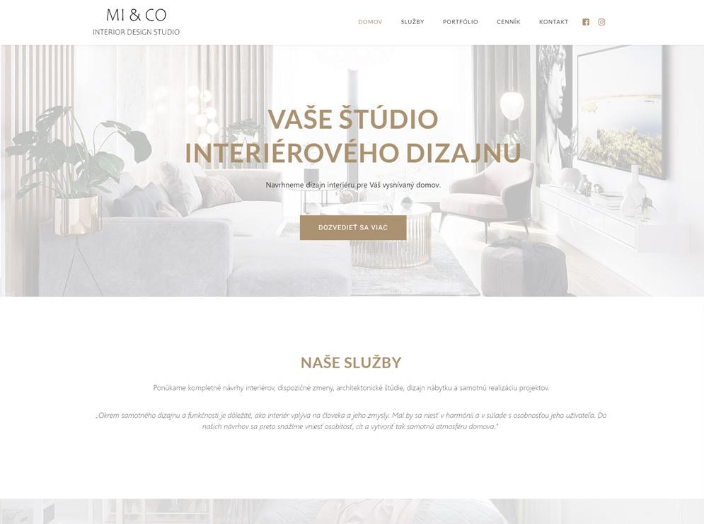 Vytvorená webová stránka pre firmu interiérového dizajnu